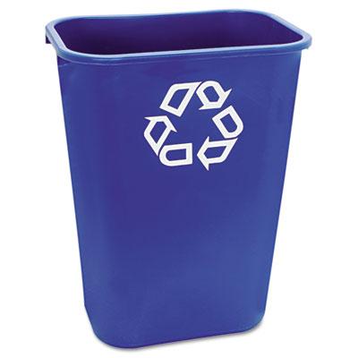 Large Deskside Recycle Container w/Symbol, Rectangular, Plastic,