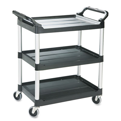 Economy Plastic Cart, Three-Shelf, 18-5/8w x 33-5/8d x 37-3/4h,