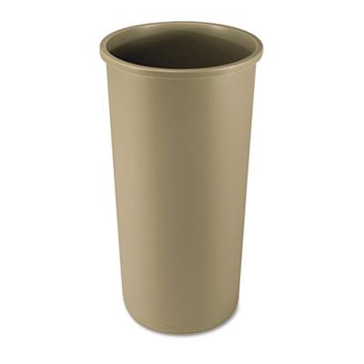 Untouchable Waste Container, Round, Plastic, 22gal, Beige