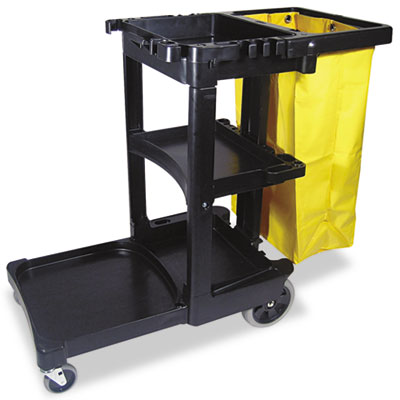 Multi-Shelf Cleaning Cart, Three-Shelf, 20w x 45d x 38-1/4h, Bla