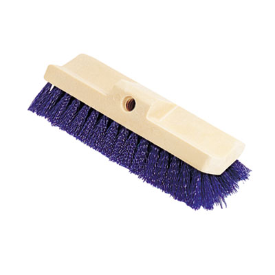 Bi-Level Deck Scrub Brush, Polypropylene Fibers, 10 Plastic Bloc