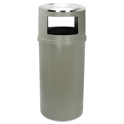 Ash/Trash Classic Container w/o Doors, Round, 25gal, Beige