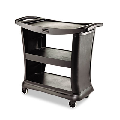 Executive Service Cart, Three-Shelf, 20-1/3w x 38-9/10d, Black
