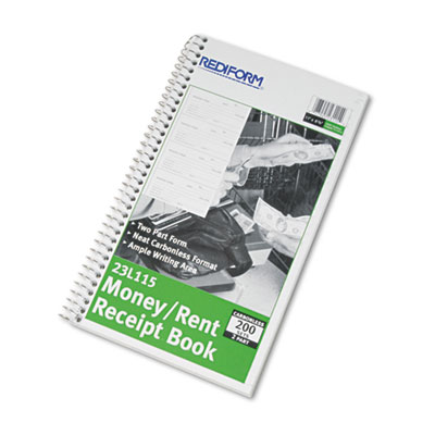 Money and Rent Unnumbered Receipt Book, 5 1/2 x 2 3/4, Two-Part,