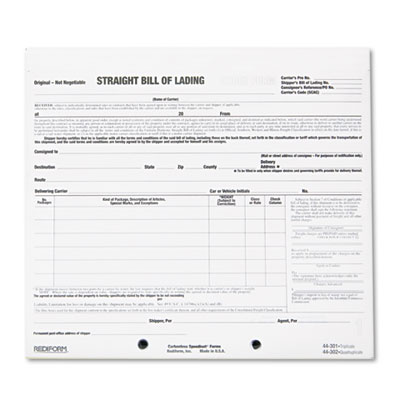 Bill of Lading Short Form, 8 1/2 x 7, Three-Part Carbonless, 250