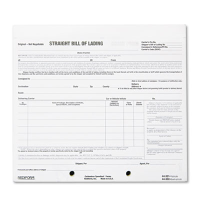 Bill of Lading Short Form, 8 1/2 x 7, Four-Part Carbonless, 250