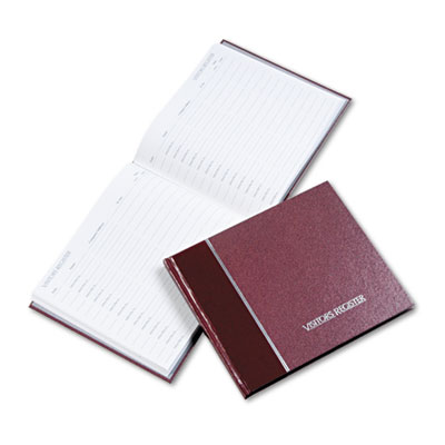 Visitor Register Book, Burgundy Hardcover, 128 Pages, 8 1/2 x 9