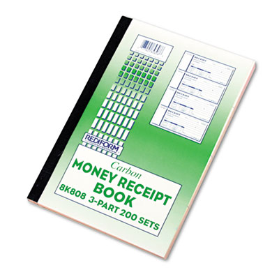 Money Receipt Book, 2 3/4 x 7, Triplicate with Carbons, 200 Sets