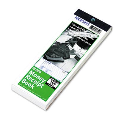 Money Receipt Book, 2 3/4 x 7, Carbonless Duplicate, 100 Sets/Bo