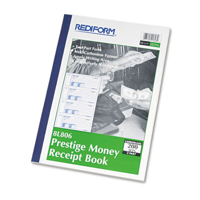Money Receipt Book, 7 x 2 3/4, Carbonless Duplicate, 200 Sets/Bo