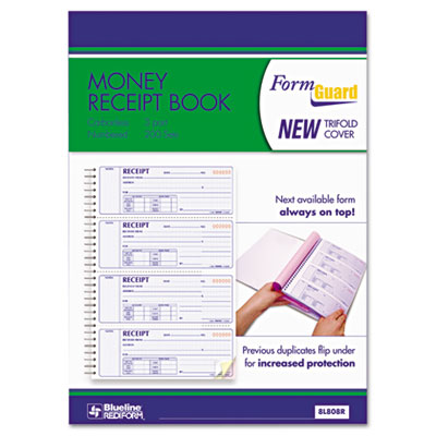 Money Receipt Book, 2 3/4 x 7, Carbonless Triplicate, 100 Sets