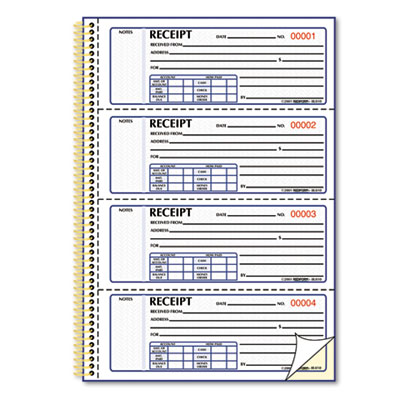 Money Receipt Book, 7 x 2 3/4, Carbonless Duplicate, Twin Wire,