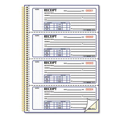 Money Receipt Book, 7 x 2 3/4, Carbonless Duplicate, Twin Wire,