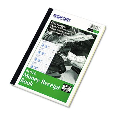 Money Receipt Book, 2 3/4 x 7, Carbonless Duplicate, 400 Sets/Bo
