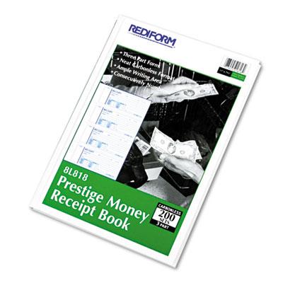 Money Receipt Book, 2 3/4 x 7, Carbonless Triplicate, 200 Sets/B
