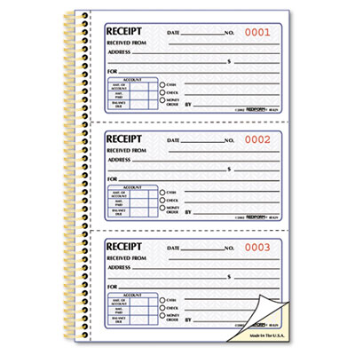 Money Receipt Book, 2 3/4 x 5, Two-Part Carbonless, 225 Sets/Boo