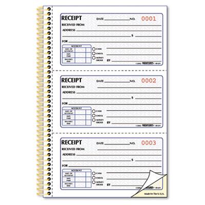 Money Receipt Book, 2 3/4 x 5, Two-Part Carbonless, 225 Sets/Boo