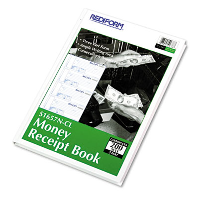 Hardcover Numbered Money Receipt Book, 6-7/8 x 2 3/4, Three-Part