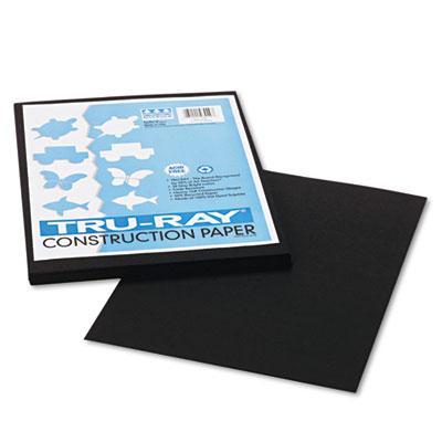 Tru-Ray Construction Paper, 76 lbs., 9 x 12, Black, 50 Sheets/Pa