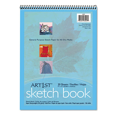 Artist's Sketch Book, Unruled, 80lb, 9 x 12, White, 30 Sheets