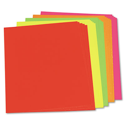 Neon Color Poster Board, 28 x 22, Green/Orange/Pink/Red/Yellow, 25/Carton<br />91-PAC-104234