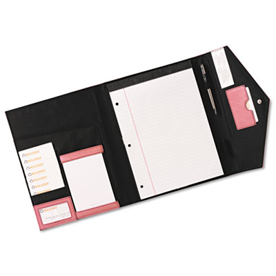 Pad Folio, Faux Leather, Snap Close, Legal Size Pad, Resilient P