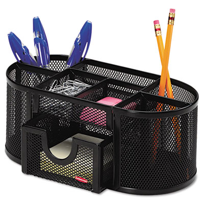 Mesh Pencil Cup Organizer, Four Compartments, Steel, 9 1/3 x 4 1