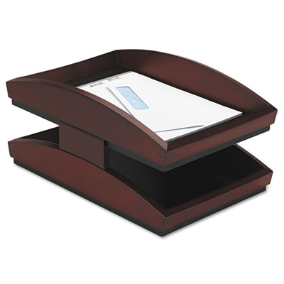 Executive Woodline II Front Loading Letter Desk Tray, Two Tier,