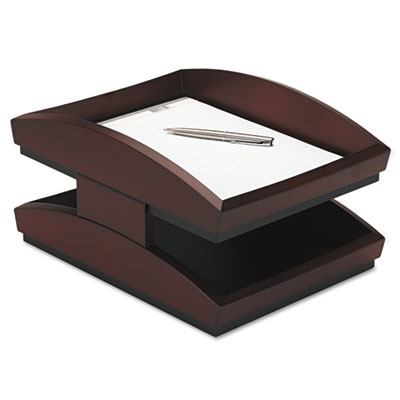 Executive Woodline II Front Loading Legal Desk Tray, Two Tier, W