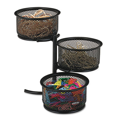 3 Tier Wire Mesh Swivel Tower Paper Clip Holder, 3 3/4 x 6 1/2 x