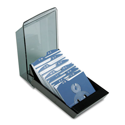 Covered Tray Business Card File Holds 200 2 5/8 x 4 Cards, Black