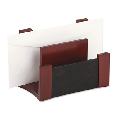 Desktop Sorter, Wood/Faux Leather, 7 1/8 x 6 11/16 x 4 1/8, Blac