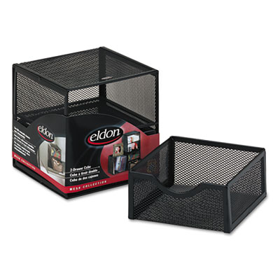 Organization Two Drawer Cube Wire Mesh Storage 6 X Black
