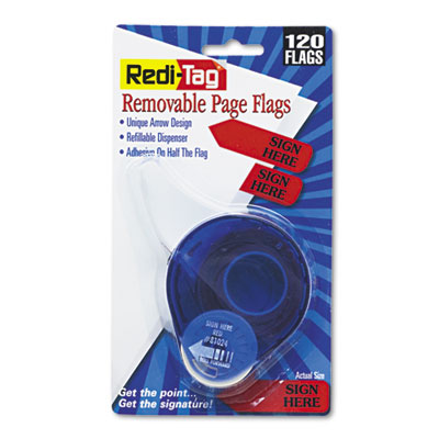 "Arrow Message Page Flags in Dispenser, ""Sign Here"", Red, 120 Fla"