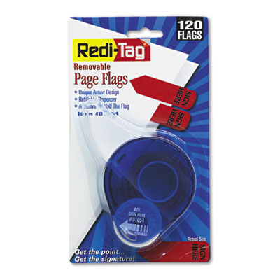 "Arrow Message Page Flags in Dispenser, ""Sign Here"", Red, 120/Dis"