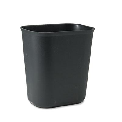 Fire-Resistant Wastebasket, Rectangular, Fiberglass, 3.5gal, Bla