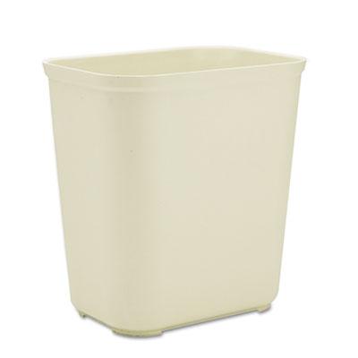 Fire-Resistant Wastebasket, Rectangular, Fiberglass, 7gal, Beige