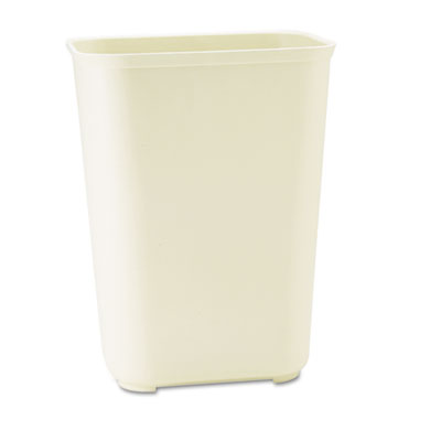 Fire-Resistant Wastebasket, Rectangular, Fiberglass, 10gal, Beig