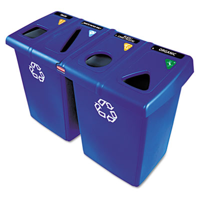 Glutton Recycling Station, Rectangular, Plastic, 92gal, Blue