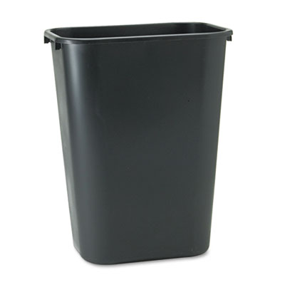 Deskside Plastic Wastebasket, Rectangular, 10.25gal, Black
