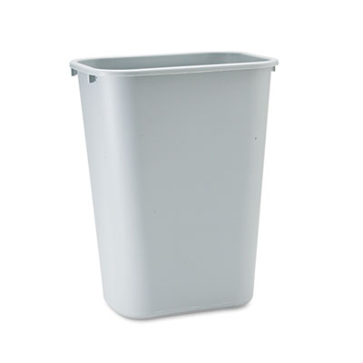 Deskside Plastic Wastebasket, Rectangular, 10.25gal, Gray