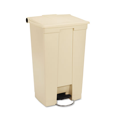 Fire-Safe Step-On Receptacle w/Wheels, Rectangular, Polyethylene
