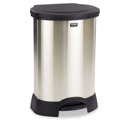 Step-On Container, Oval, Stainless Steel, 23gal, Black