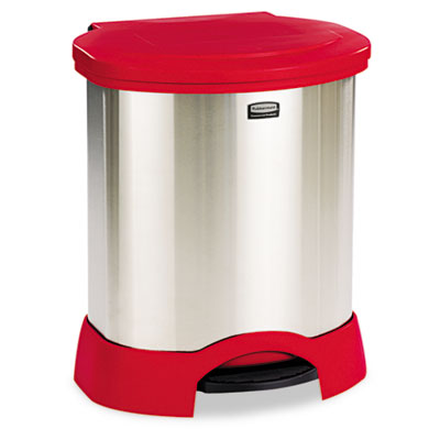 Step-On Container, Oval, Stainless Steel, 23gal, Red