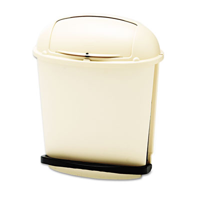 Fire-Safe Pedal Rolltop Receptacle, Oval, Plastic, 14.5gal, Beig
