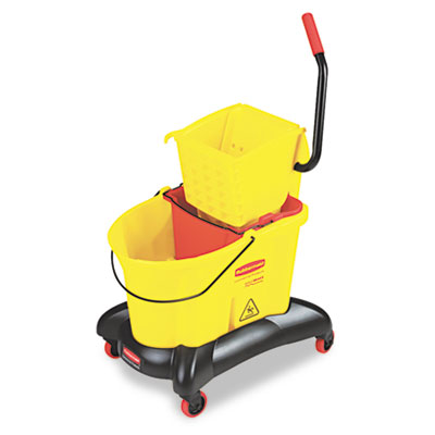 Wavebrake 35 Qt Dual Water Side Press Mop Bucket & Wringer, Yell