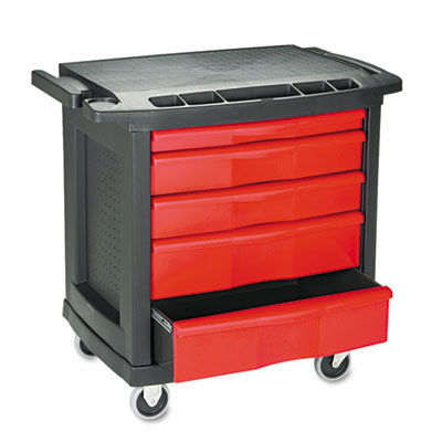 Five-Drawer Mobile Workcenter, 32 1/2w x 20d x 33 1/2h, Black Pl
