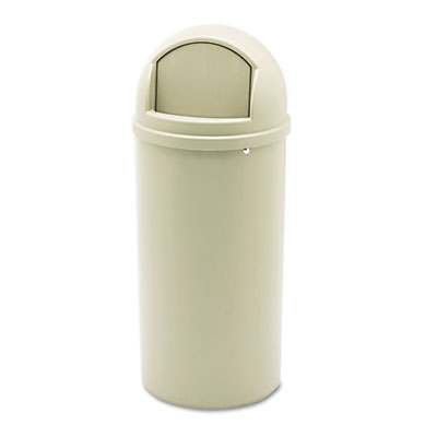 Marshal Classic Container, Round, Polyethylene, 15gal, Beige