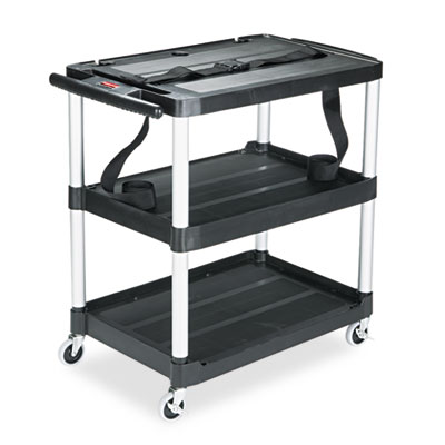 MediaMaster Three-Shelf AV Cart, 18-5/8w x 32-1/2d x 32-1/8h, Bl
