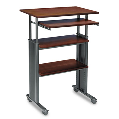 Adjustable Height Stand-Up Workstation, 29w x 22d x 49h, Cherry/